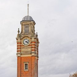 The Sutton Coldfield Town Hall clock tower.